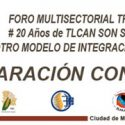 DECLARACION CONJUNTA FORO MULTISECTORIAL TRI-NACIONAL 20 AÑOS DEL TLCAN SON SUFICIENTES