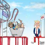 Caricatura canadiense sobre porque hay que suspender las platicas sobre el TLCAN